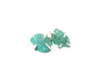 Apatite Earrings, Apatite Stud Earrings, Raw Stone Earrings, Sterling Silver Apatite Claw Studs