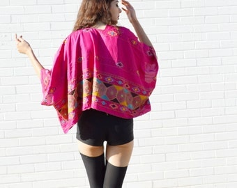 pink kimono jacket, embroidered crop jacket, crop kimono, indian hippie boho bohemian chic jacket, festival jacket, beaded evening wrap