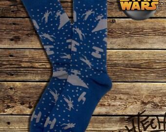 Star Wars Battle Ships Navy Socks (Officially licensed by Lucasfilm LTD)