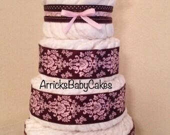 The Pink Mocha Ice Cream 4 Tier Baby Girl Diaper Cake