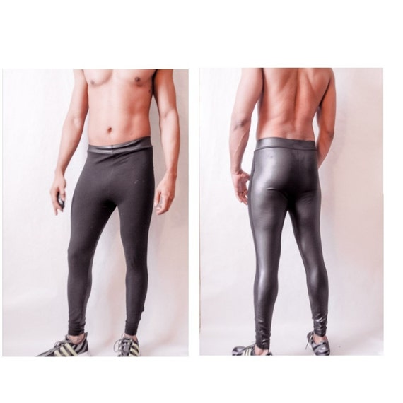 Leather look Front or Back Reversible Stretch Latex Biking Fitness Tights  Legging Megging