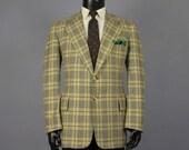 Plaid Sport Coat -- Mens' Vintage 1970s Cream, Green, & Brown Tweedy Plaid Wool -- Mens Size 40/41