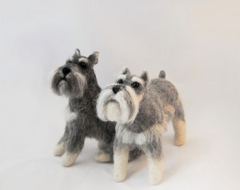 Needle Felted Schnauzer, Felt Dog, Custom Made Pet Sculpture, Giant Schnauzer, Miniature Schnauzer or any other breed - made to order