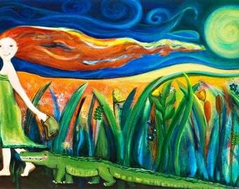 Moonlit Walk, Limited edition Alligator and Girl Art Print