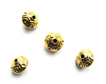 SALE Vermeil Rondelle Beads 2 pcs Dots Saucer Roundel 5.5 mm B209