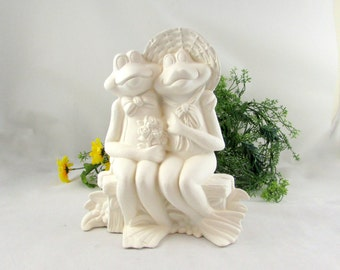 Ceramic Ready to Paint Two Frogs Sitting on a Bench - 10 inches -bisque, indoor or outdoor, lawn or garden