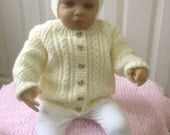 Baby Girl Sweater and Hat Set in Cream to fit 3-6 month Ready to Ship Now