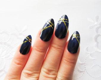 Royal Blue Stiletto Nails, Fake Nails, False Nails, Acrylic Nails, Press on, Nails, Metallic