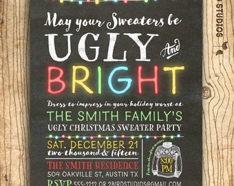 Ugly Christmas sweater invitation - Ugly sweater party invitation - Chalkboard ugly sweater invitation -  Christmas party invite