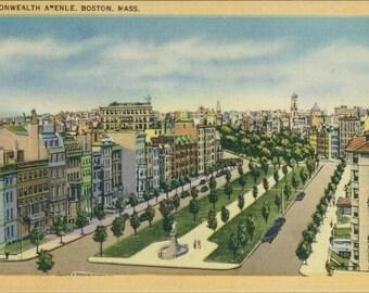 Boston Common - Massachusetts linen postcard, colorful image, paper ephemera, retro travel souvenir