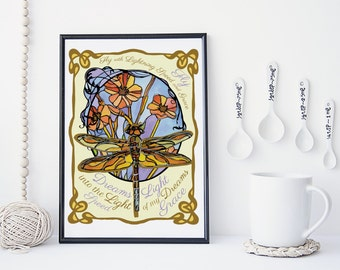 Dragonfly Art Nouveau Print, Dragonfly and flowers, Pastel Colors, 8x10 Inspirational Home Decor Poster.