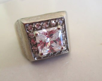 Vintage 925 Sterling Silver Square Cut Simulated Diamond Ring with Simulated Diamonds Surrounding, SIZE 5, Maker's Mark J in a Box
