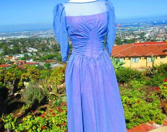"ENCHANTINGLY FEMININE Vintage 1940's Periwinkle Chiffon Evening Gown ""I've Got A Crush On You"""