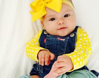 Large Yellow Bow Headbands, Baby Headband, Newborn Bow Headbands, Infant Headbands, Headbands for Babies, Headbands for Baby, Headbands Sets