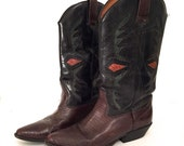 Vintage Womens Hunt Club 1980s Fashion Inaly Cowboy Boots / Western Leather Boot / Riding Boots / Women's US sz 7.5