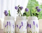 Lavender Flower Painted Mason Jars - Painted Mason Jars - Lavender Mason Jars - Flower Mason Jars