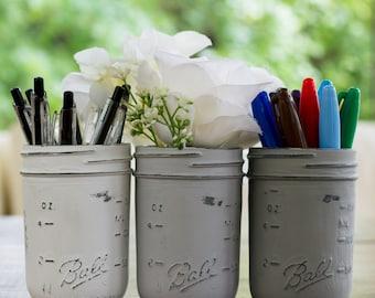 Grey, Greige, White Half-Pint Painted & Distressed Mason Jars