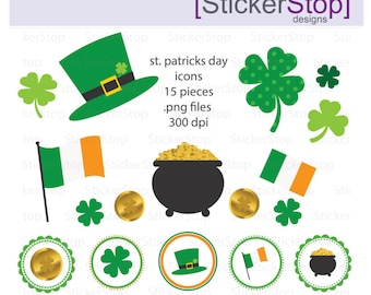 St. Patricks Day Icons PNG Digital Clipart - Instant download - st pattys St Patricks Day Pot of Gold Shamrocks Clover Gold Coin Frames
