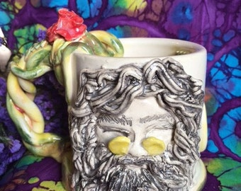 Jerry Garcia Ceramic Mug With Roses Handmade On The Potters Wheel And Hand built Decorations