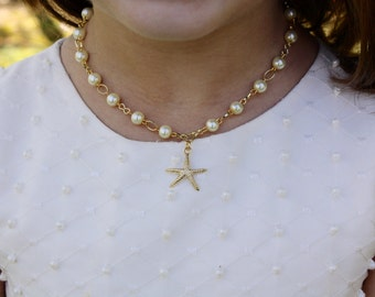 Starfish Necklace - Flower Girl Gift - Destination Wedding - Pearl Necklace - Flowergirl Necklace - Gold Charm Necklace - Annabelle