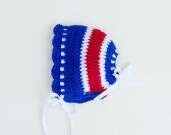 BABY GIRL HOCKEY, Royal Red Hockey, Crochet Hockey Baby Bonnet, Newborn Hockey Hat, Baby Knit Hockey Hat, Newborn Hockey Girl, Hockey Bonnet