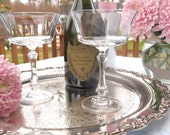 Crystal Champagne Coupe Glasses Saucers Pair Towle Crystal Westerly | Optic Glass | Bride and Groom Wedding Toasting Glasses Set of 2