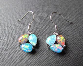 25% OFF SALE Opal Earrings - Multi Color Tear Drop Dangle Earrings - Red Fire Rainbow and Blue Opal