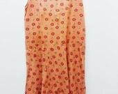 SALE / 60s Mod Shift Dress / Orange Floral Retro Pinafore Dress