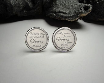Personalized Wedding Cuff Links,Groom Silver Cufflinks for Him,Men Gift Personalized,Wedding Cuff Links, Personalized Grooms Cuff Links C2