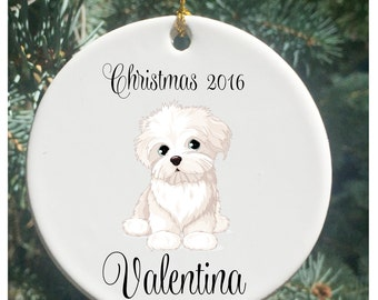 Personalized Christmas Ornaments White Dog Christmas Ornament