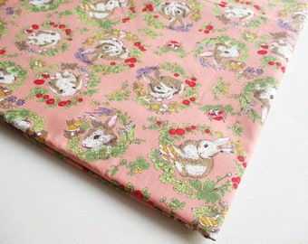 Bunny Fabric, Holland Lop Bunnies, Coral Pink and Brown Puffy Rabbit, Baby shower, Kid Dress, Pillow cover, ipad case, bed room CT574