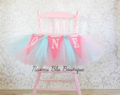 Carnival Pink Aqua Blue Cotton Candy High Chair tutu for. Birthday Party Decoration, Tulle Table Skirt, chair Tutu. Cake Smash First 1st