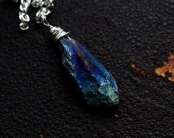 Mini blue titanium aura crystal quartz necklace