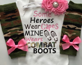 Baby Girl outfit -Father's Day baby outfit- Army Dady- Army Mom - My Hero Wears Combat boots - Marine Dad - Marine Mom - My hero is my Daddy