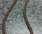 Brown and Green Long Beaded Necklace Handmade - Russian Spiral Bead Weaving Necklace - Bead Necklace Jewelry