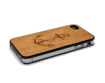 iPhone 4 Case Wood Anchor iPhone 4S Case Wood iPhone 4 Case iPhone 4 Case Wood, iPhone 4 Wood Case, iPhone 4S Wood