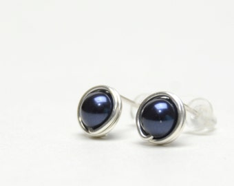 Dark Navy Blue Pearl Stud Earrings - Wire Wrapped Studs with Fine (99%) Silver Wire - Swarovski Crystal Pearl Night Blue, Midnight Blue