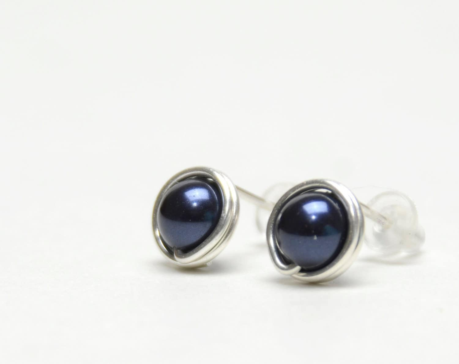 navy blue pearl stud earrings wire wrapped studs with