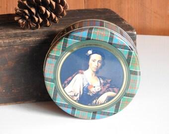 Scottish Biscuit Tin ~ Vintage Metal Can Green Blue Plaid Tartan MacDonald, Scotland, Collectible Box / Rustic Farmhouse Barn Country Decor