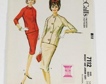 McCalls 7112 - 1963 - Misses and Junior Suit - Vintage 1963 Pattern - Size 14