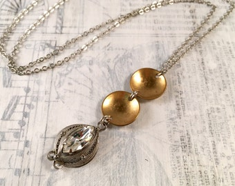Vintage Rhinestone and Brass Necklace - Sterling Silver