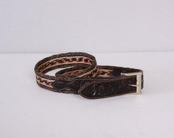 Vintage WESTERN BELT / Men's Braided Horsehair Tooled Black Leather Nocono Belt 38