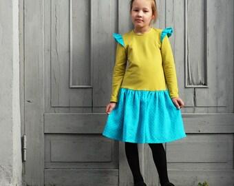 Girls dress Girls ruffle dress Toddler girl dress Girls clothes Mustard teal dress Autumn Winter dress Everyday dress Back to School