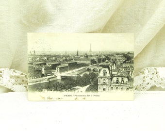 Antique French Postcard, Panoramic view of Paris and the Eiffel Tower Posted in 1902 / French Decor / Vintage Retro Home Interior / Parisian