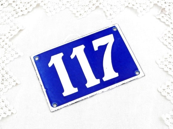 Vintage Traditional French Enamel House Number Plate Number 117 in Blue with White Colored Numbers / Decor / Porcelain Sign / Retro Interior