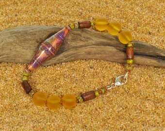 Lightweight Bicone Mood Bead with Honey Hued Resin Boho Bracelet