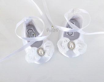White Satin Wedding, Flower Girl, Christening, Baptism, Baby Shoes, Shabby Chic, Pearl, Rhinestone, Flower Girl, Christening accessory