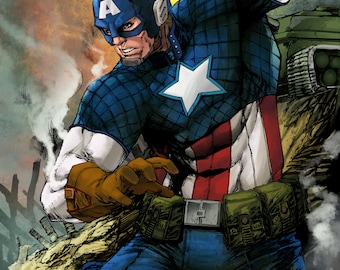 Captain America 2016 Print by Hanzozuken