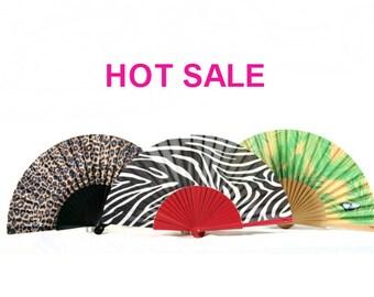 Sale: Set of 3 folding hand fans BACK TO NATURE | jungle animal prints | zebra | leopard spots | blue butterfly | Free Shipping Worldwide