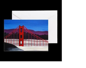 San Francisco Golden Gate Bridge #3 - 4 Greeting Cards By Artist A.V.Apostle